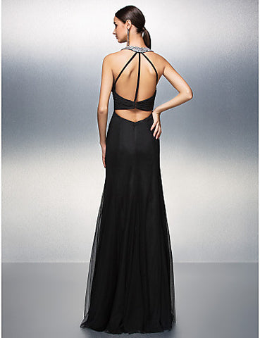 A-line V-neck Floor-length Chiffon And Tulle Evening Dress