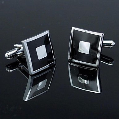 Fashionable Square Black Silver Man Checked Pattern Cufflink for Men (1pair)