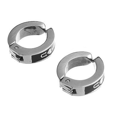 Classic I Love U Pattern Stainless Steel Silver Clip Earring(1 Pair)