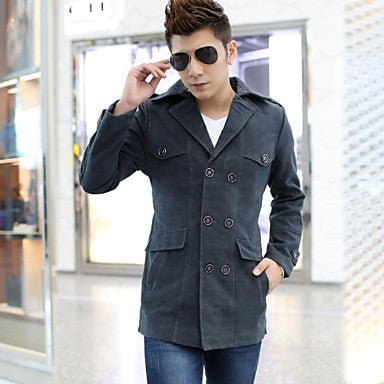 Men's Turn Down Collar Long Sleeve Casual Trench Coats (More Colors Available)
