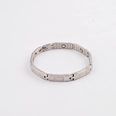 Fashion Men's Silver Twist Health Magnet Titanium Steel Tennis Bracelet