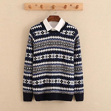 Men's Round Collar Long Sleeve Jacquard Plaid Sweaters