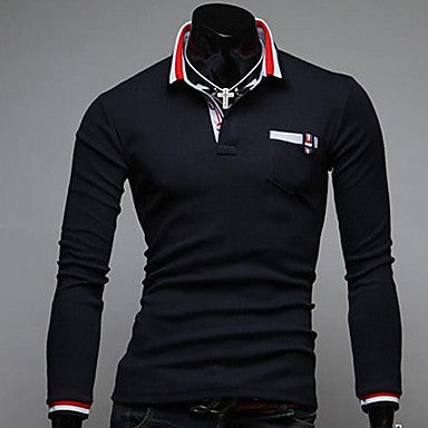 Men's Lapel Personality Stitching Long Sleeve T-Shirt