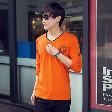 Men's Round Collar Long Sleeve T Shirt(More Colors)