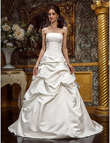 Wedding Dress A Line Sweep Brush Train Satin Strapless With Beading Appliques
