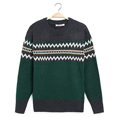 Men's Round Collar Long Sleeve Jacquard Sweaters
