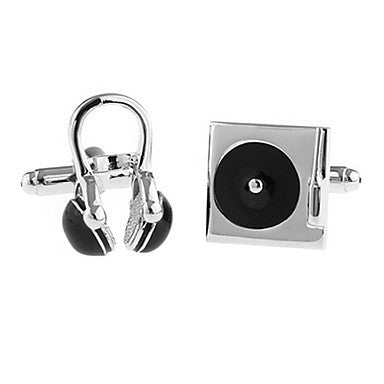 Men's Earphone Square Asymmetric Cufflinks(2 PCS)