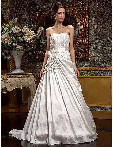 A-line/Princess Strapless Sweep/Brush Train Taffeta Wedding Dress
