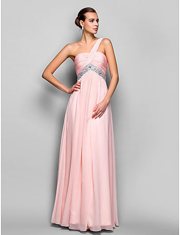 A-line/Princess One Shoulder Floor-length Chiffon Evening/Prom Dress