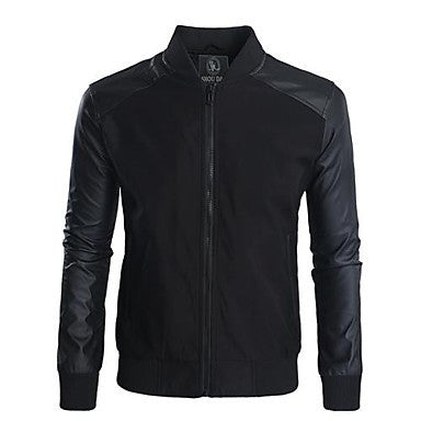 Thin Man with Leather Stitching Jacket
