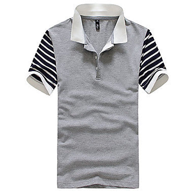 Men's Shirt Collar Stripes Splicing T-shrit