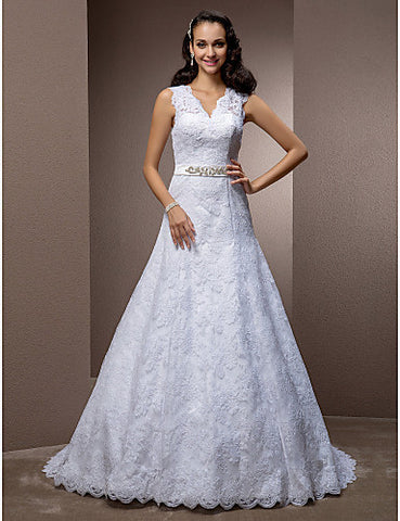 A-line V-neck Court Train Lace Wedding Dress With Removable Belt