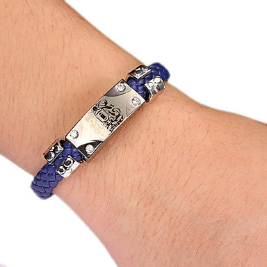 Punk Style Vongola Dark Blue Leather Bracelet(1 Pc) Leather Color Random