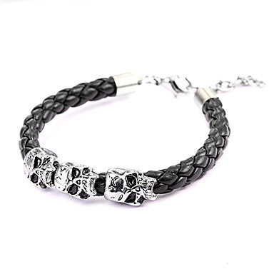 Punk Style Three Little Skull Brown Leather Bracelet(1 Pc)