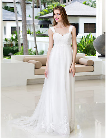 A-line Straps Court Train Tulle And Chiffon Wedding Dress (788844)