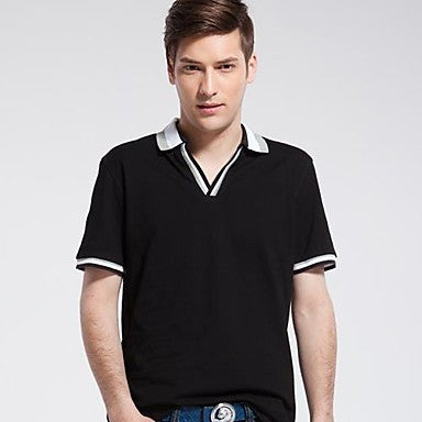 Men's Lapel Cotton Short Sleeve T-Shirt