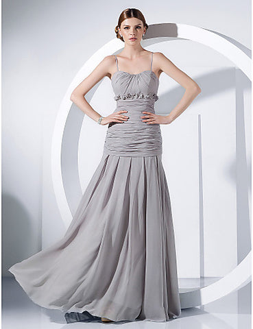 Sheath/ Column Spaghetti Straps Floor-length Chiffon Evening Dress