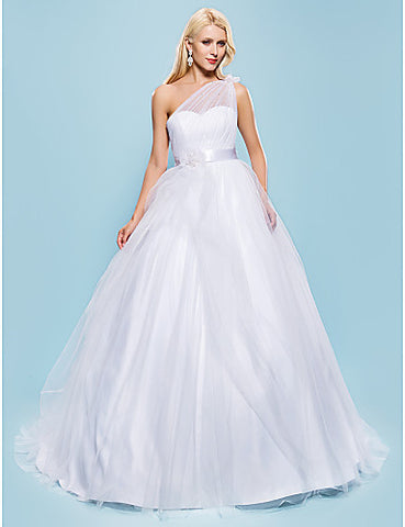 Ball Gown One Shoulder Court Train Tulle Wedding Dress