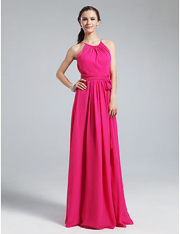 Bridesmaid Dress Floor Length Chiffon Sheath Column Jewel Dress