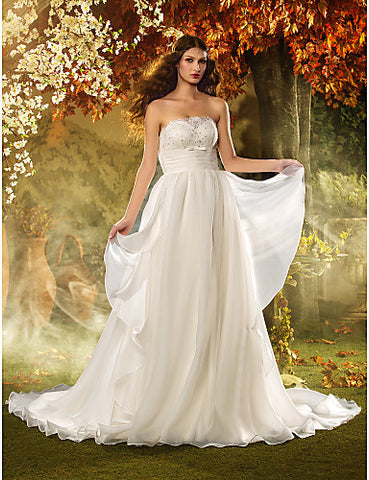 Sheath/Column Strapless Floor-length Tulle Wedding Dress (618808)