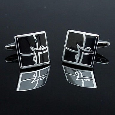 Fashion Mens Cufflinks with Square Floral Design(1pair)