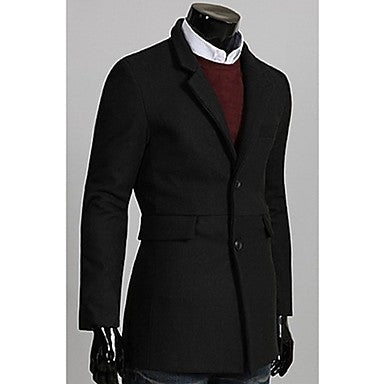 Men's Single Breasted Detachable Hat Coat
