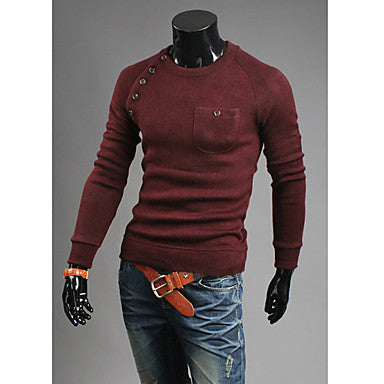 Men's Stylish Button Embellishments Solid Thick Shirt