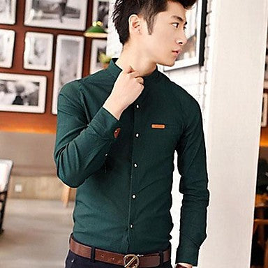 Men's Korean Style Slim Collar Stitching Long-Sleeved Shirt