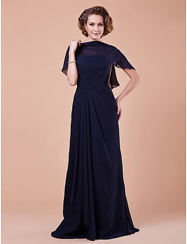 Sheath/Column Strapless Floor-length Chiffon Mother Of The Bride Dress With A Wrap