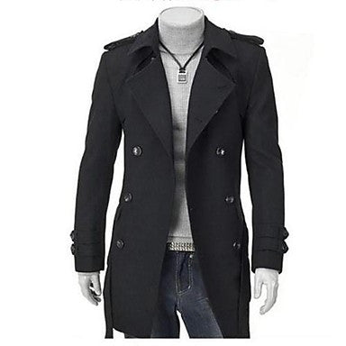 Men's Korean Style Lapel Shoulder Pad Double Breasted Coat