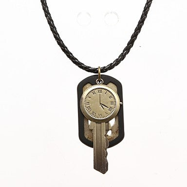 Punk Pierced Board (Key And Clock) Black Leather Pendant Necklace (1 Pc)