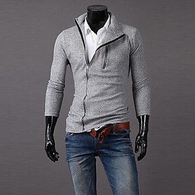 Men's Diagonal Zipper Design Men's Long Sleeve Sweater Cardigan