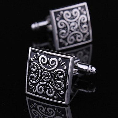 Fashionable Square Black Silver Man Classic Floral Pattern Cufflink for Men (1pair)