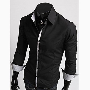 Men's Stripe Stitching Individual Placket Long Sleeve Shirt