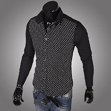 Men's Lapel Contrast Color Long Sleeve Shirts