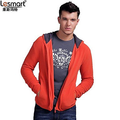 Men's Orange Causal Hoodie Coat