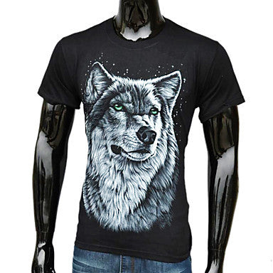 Men's Fashion Western Style 3D Wolf Printed T-Shirt