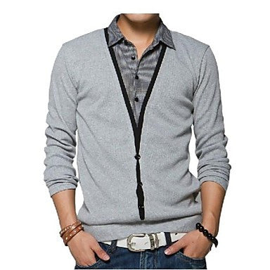 Men's Fashion Plus Size Shirt Collar Long Sleeve T-shirt