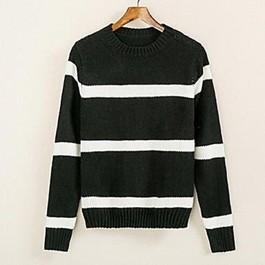 Men's New Color Striped Turtleneck Sweater