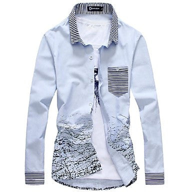 Men's Fashion Slim Cotton Ink Long Sleeved Shirt