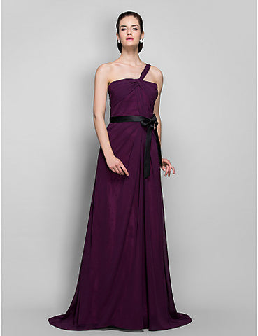 Sheath/Column One Shoulder Sweep/Brush Train Georgette And Satin Evening Dress