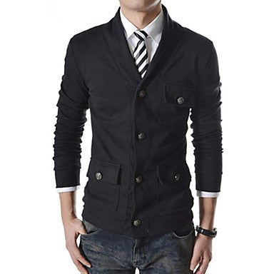 Men's Single-Row Multi-Buckle Decorated Casual Jacket
