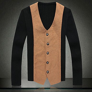 Men's Fashion Splicing Knitted Cardigan