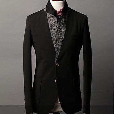 Men's Lapel Collar Solid Color Basic Long Sleeve Outwear