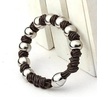 Men's Fashion Personality Titanium Steel Brown Magnet Round Bead Weaving Bracelets