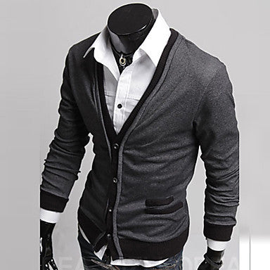 Men's V Neck Contrast Color Buckle Sweaters Coat