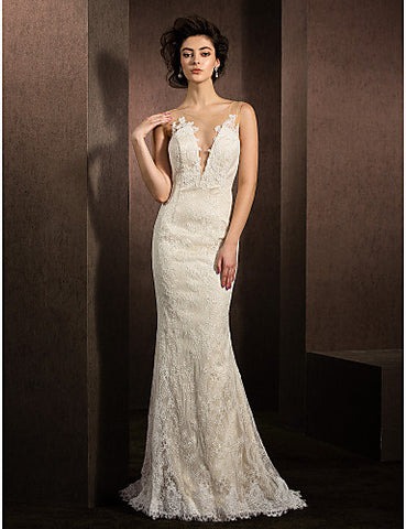 Trumpet/Mermaid Jewel Sweep/Brush Train Lace Wedding Dress (1798928)