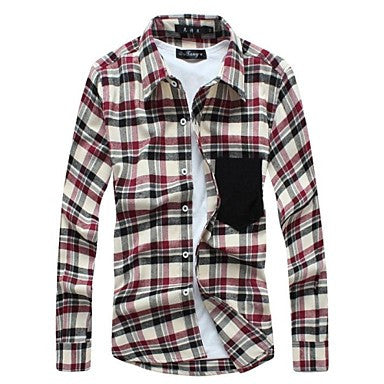 Men's 2015 Spring Pocket Plaid Casual Long Sleeve Shirt
