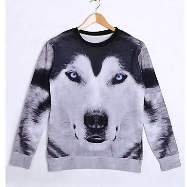 Men's Cotton Long Sleeve 3D Wolf Printed Autumn Sweatshirts