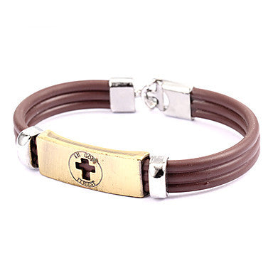 Punk Style Little Cross Plate Brown Leather Bracelet(1 Pc)